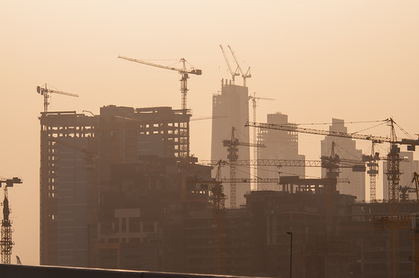 May 6th - Cranes still dominate the Dubai skyline although there has been up to a 60% decline in construction projects over the past few months.