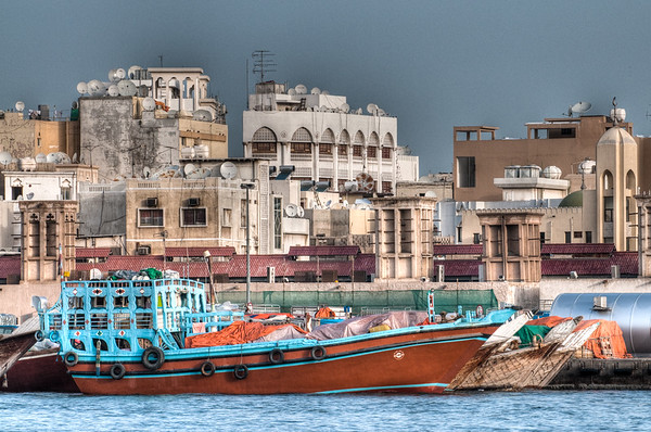 April 14th - Old trading dhows line the edge of the creek in old Dubai, just as they have for many years.