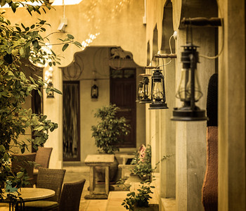 Oil Lanterns converted to electric lamps at XVA Hotel, Dubai, UAE