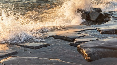 Waves and rocks and waves on rocks.