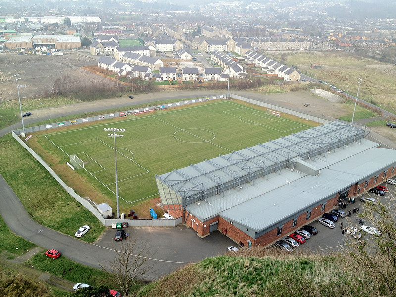 The Dumbarton Football Stadium, home of Dumbarton FC, from above.<br /> 24th March 2012