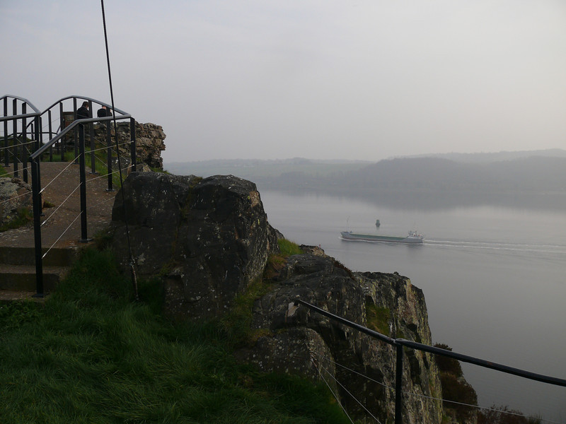 View from Dumbarton Rock as Scot Explorer heads upriver.<br /> 24th March 2012