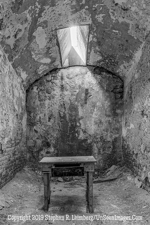 Room with Table B&W  Eastern State Penitentiary Oct 18 2013 20131018_4397