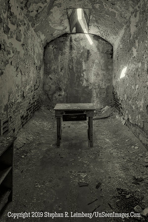 Eastern State Penitentiary Cell with a Table  B&W 20131018_4375