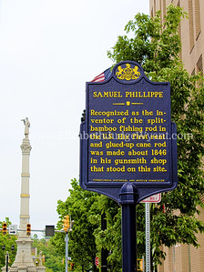 Recognized as the inventor of the split-bamboo fishing rod in the U.S. His first rent and glued-up cane rod was made about 1846 in his gunsmith shop that stood on this site.