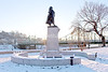 Christopher Columbus, a 9-foot tall bronze statue on a granite pedestal was created by artist Giuseppe Donato and dedicated Dec. 14, 1930.   12/11/2013