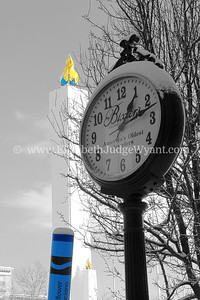 In 1785 Christian Bixler III opened a small jewelry and clock-making shop in downtown Easton, Pennsylvania.  This clock (once known as the Orr's clock) still stands as a reminder.   Easton, PA 2/14/14