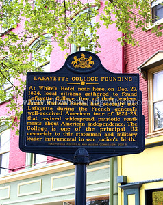 At White's Hotel near here, on Dec. 27, 1824, local citizens gathered to found Lafayette College. One of their leaders, James Madison Porter, had recently met Lafayette during the French general's well-received American tour of 1824-25, that revived widespread patriotic sentiments about American independence. The College is one of the principal US memorials to this statesman and military leader instrumental in our nation's birth.