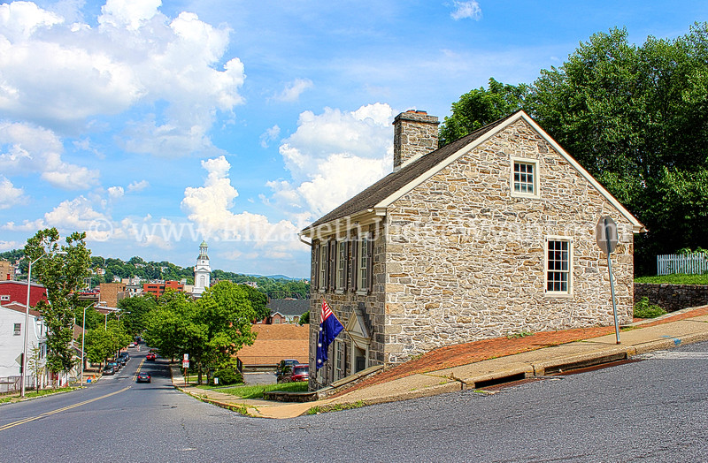 """Jacob Nicholas House<br /> In 1807, Jacob Nicholas, a Delaware River Boat Captain, built his home at Fifth & Ferry Streets. <br /> Nicholas plied the riverboat on the Delaware River, hauling goods from Philadelphia to Easton. The building is one of the very few restored structures in the nation that illustrate life at home for a typical working person or family. The """"Little Stone House"""" is owned by the City of Easton.<br /> Easton PA 7/7/2013"""
