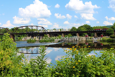 Lehigh River dam & Train, Easton PA 7/11/2014