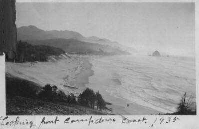 In 1935, state park officials secured a CCC camp on Tillamook Head to develop Ecola State Park. One of the CCC workers photographed the camp and scenes such as this looking south toward Cannon Beach.