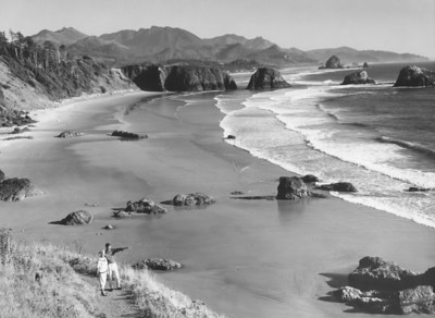 When Ecola State Park opened, state empoyees took publicity photos such as this view from the main parking lot, site of the CCC camp in 1935.