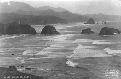 In 1907, Portland photographer H F Bartels made this image looking south from Tillamook Head. His vantage point lies in the future Ecola State Park.