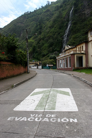 ...in case of a volcano erupting, follow the arrows to safety