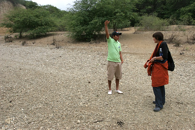 We visited Ecuador during the dry season so the river at Agua Blanca was almost dry and Roni shows how deep the water gets during their wet season.
