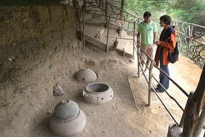 This is an excavation site showing burial jars.