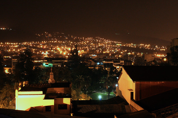 From the roof looking towards the historic district of Quito.
