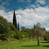 Scott Monument viewed across Waverely Park, Edinburgh