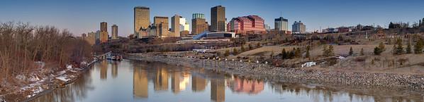 Edmonton late winter panorama, looking along the North Saskatchewan River towards downtown.