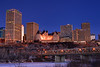 A view of Edmonton's skyline and the North Saskatchewan River in December, looking towards the Hotel Macdonald.