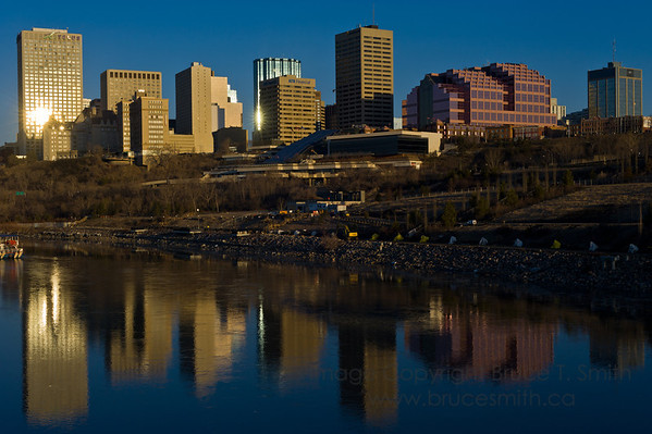 Downtown Edmonton skyline reflected in the North Saskatchewan River