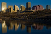 Downtown Edmonton skyline reflected in the North Saskatchewan River