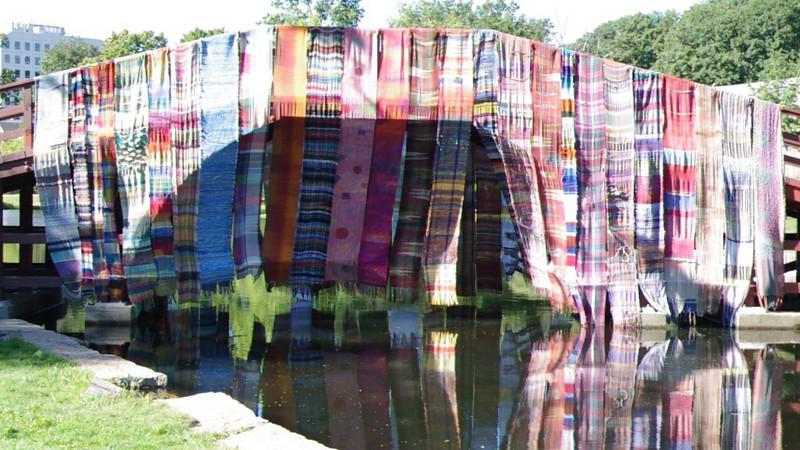 "Saori sashed Bridge flowing in the breeze. More info at <a href=""http://saoriworcester.com/""> SAORI Worcester</a>"