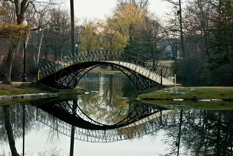 Old Bridge at Elm Park, Worcester, MA. One of the oldest city parks in the US. Designed by Frederick Law Olmsted who design Central Park, NYC.