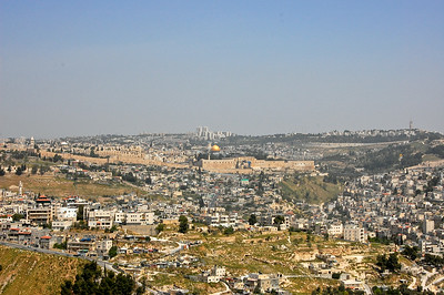 View of the old city of Jerusalem.  The Dome of the Rock is visible in the center of the photograph.