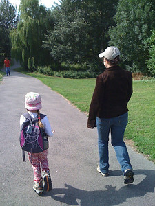 Sarah and Sam set off on our walk