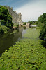 Pond full of water lillies leading to Warwick Castle - Warwick, England