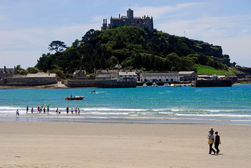 Beach goers at St. Michael's Mount - Marazion, Cornwall, England