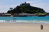 Beach goers at St. Michael's Mount - Marazion, Cornwall, England
