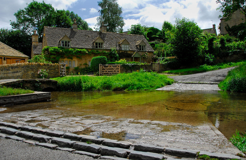 Ford through a stream in the Cotswolds - Upper Slaughter, England