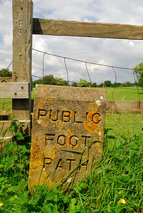 Public Foot Path sign etched in stone - Snowshill, England