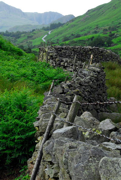 Meandering stone wall on Wrynose Pass - England