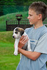 Boy with Fox Hound puppy - Lake District, England