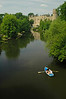 Boaters on the River Avon near Warwick Castle - Warwick, England
