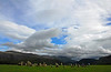 Castlerigg Stone Circle under cloud filled sky - England