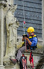 Worker preparing for restoration of Salisbury Cathedral, England