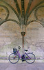 Bicycle leaning on ornate cloister wall - Salisbury Cathedral, England