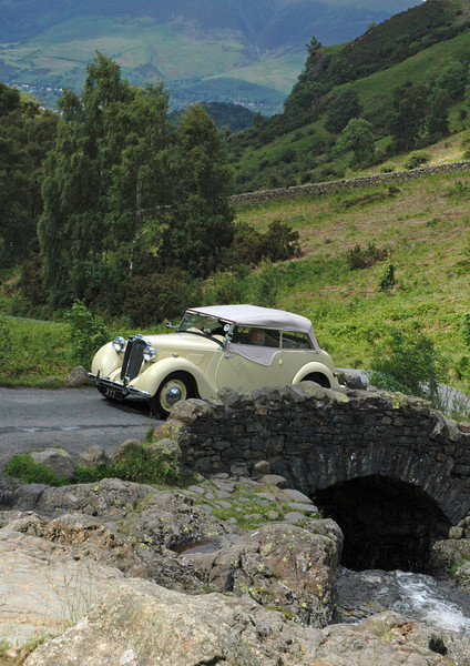 Vintage car crossing the Ashness Bridge - Lake District, England
