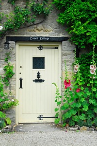 Entrance door to Cotswold stone cottage - Minster Lovell, England