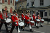 Drummers leading the procession back to the Royal Barracks following changing of the guards - Windsor, England