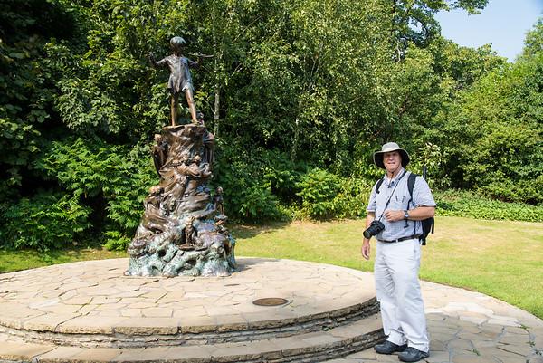 Russ at the statue of Peter Pan, Kensington Park
