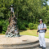 Russ at the statue of Peter Pan, Kensington Park
