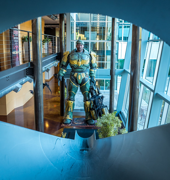View on the statue from the giant slide. Epic Games HQ, Cary