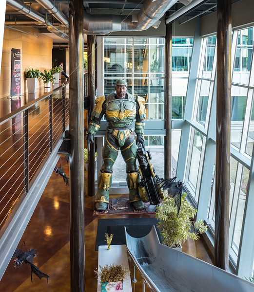 View on the statue. Epic Games HQ, Cary