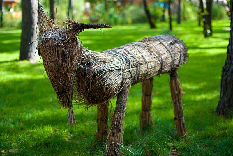 Wooden goat at Etno Selo