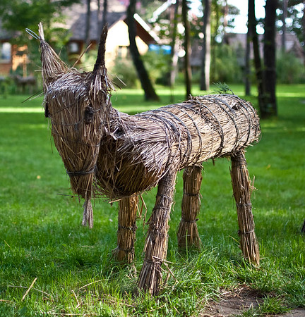 Wooden goat at Etno Selo